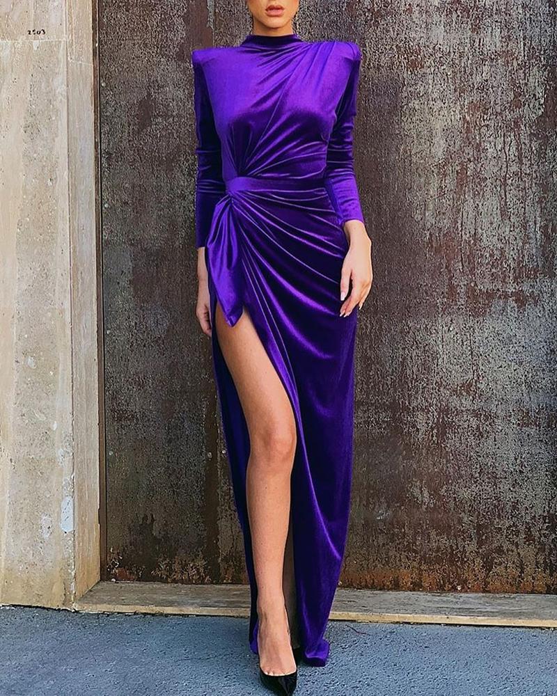 Solid Mock Neck Long Sleeve High Slit Ruched Dress, Dark purple