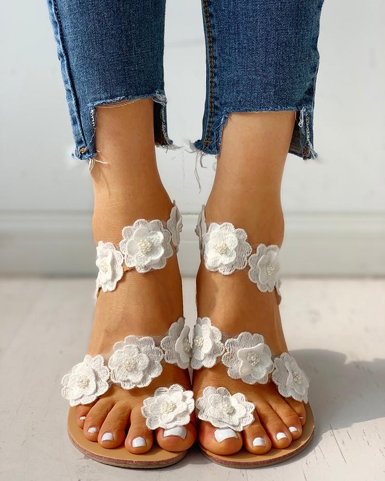Flower Embellished Open Toe Flat Sandals