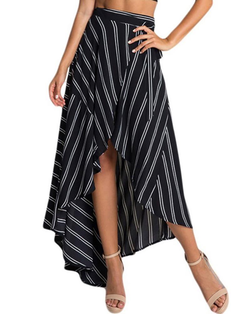 Asymmetric Dip Hem Stripes Pleated Maxi Skirt