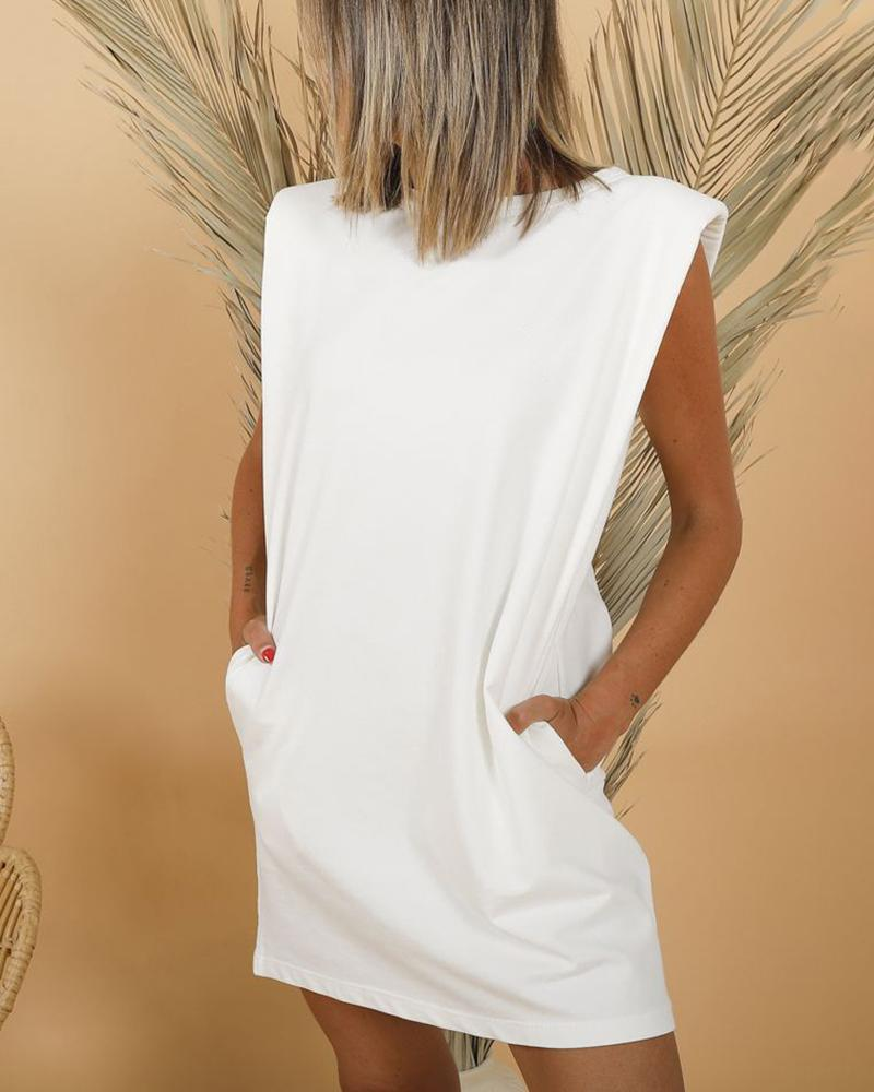 Sleeveless Pocket Design Casual Dress фото