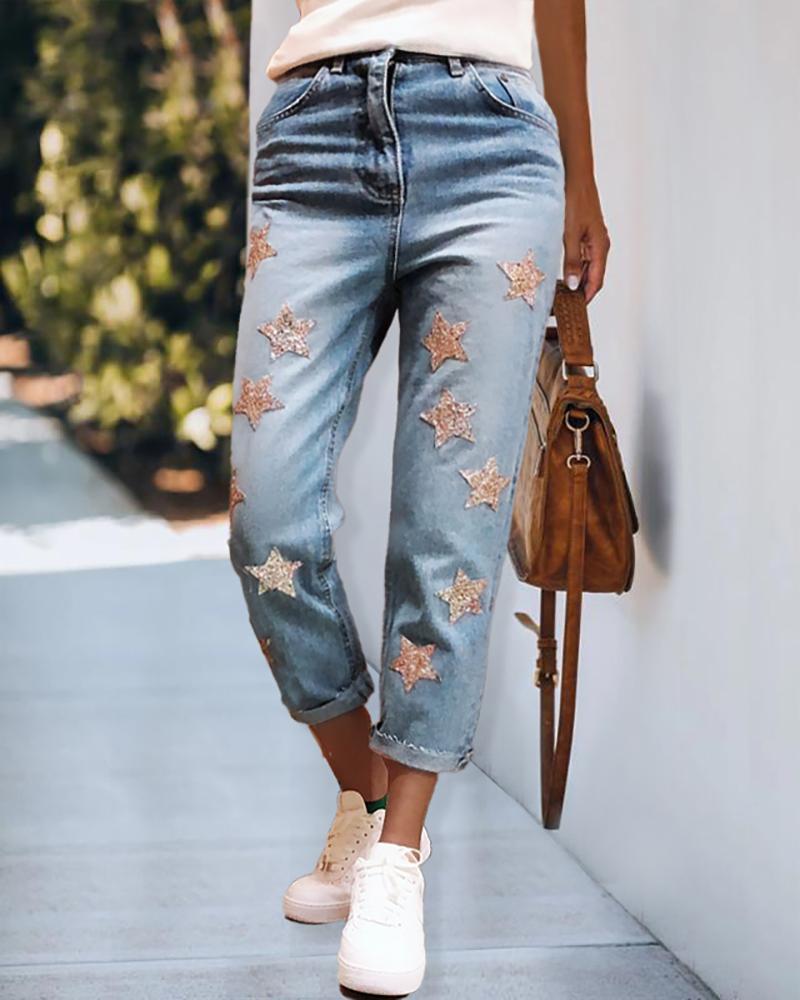 ivrose / Calças jeans com zíper com estampa estrela