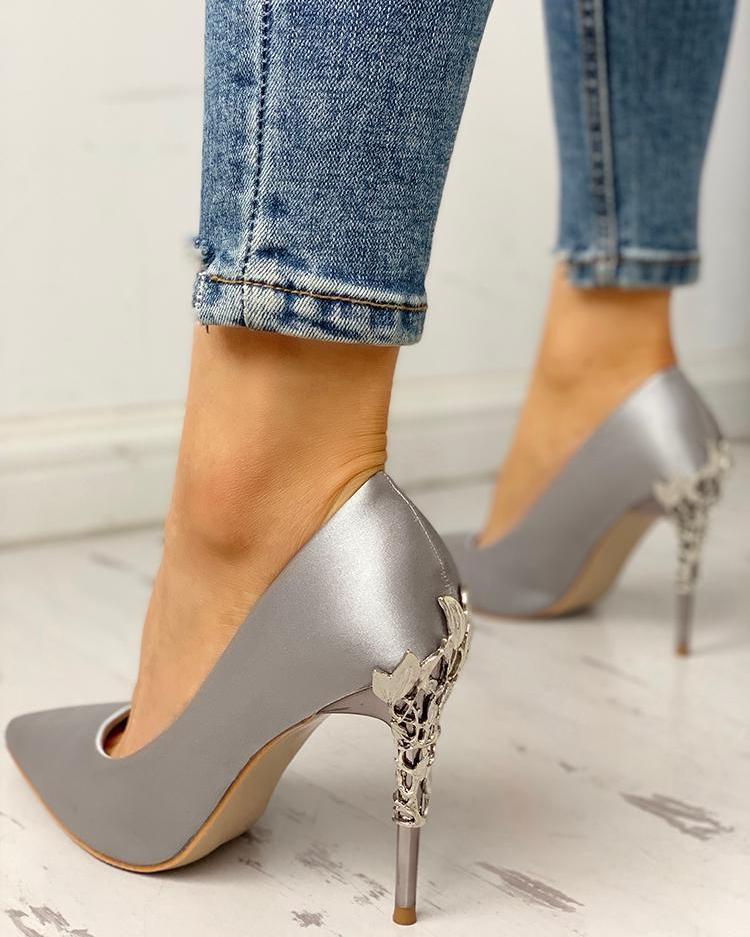 joyshoetique / Pointed Toe Floral Metal Detail Thin Heels