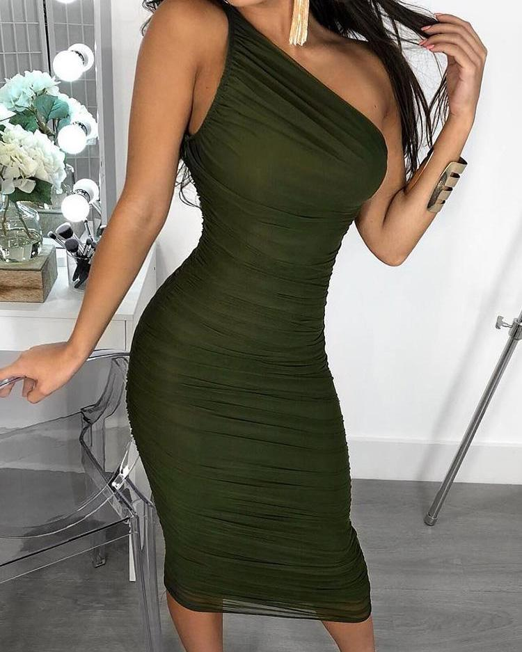 joyshoetique / One Shoulder Ruched Mesh Dress