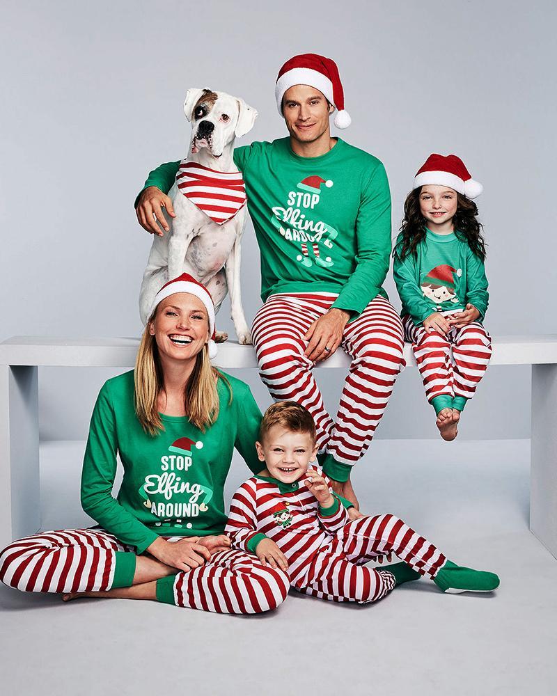 chicme / Conjunto de calças listradas e com estampa de cartas de Natal para crianças