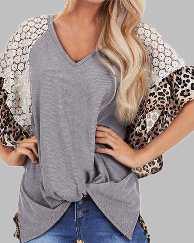 V-neck Leopard Print Crochet Lace Twisted T-shirt фото