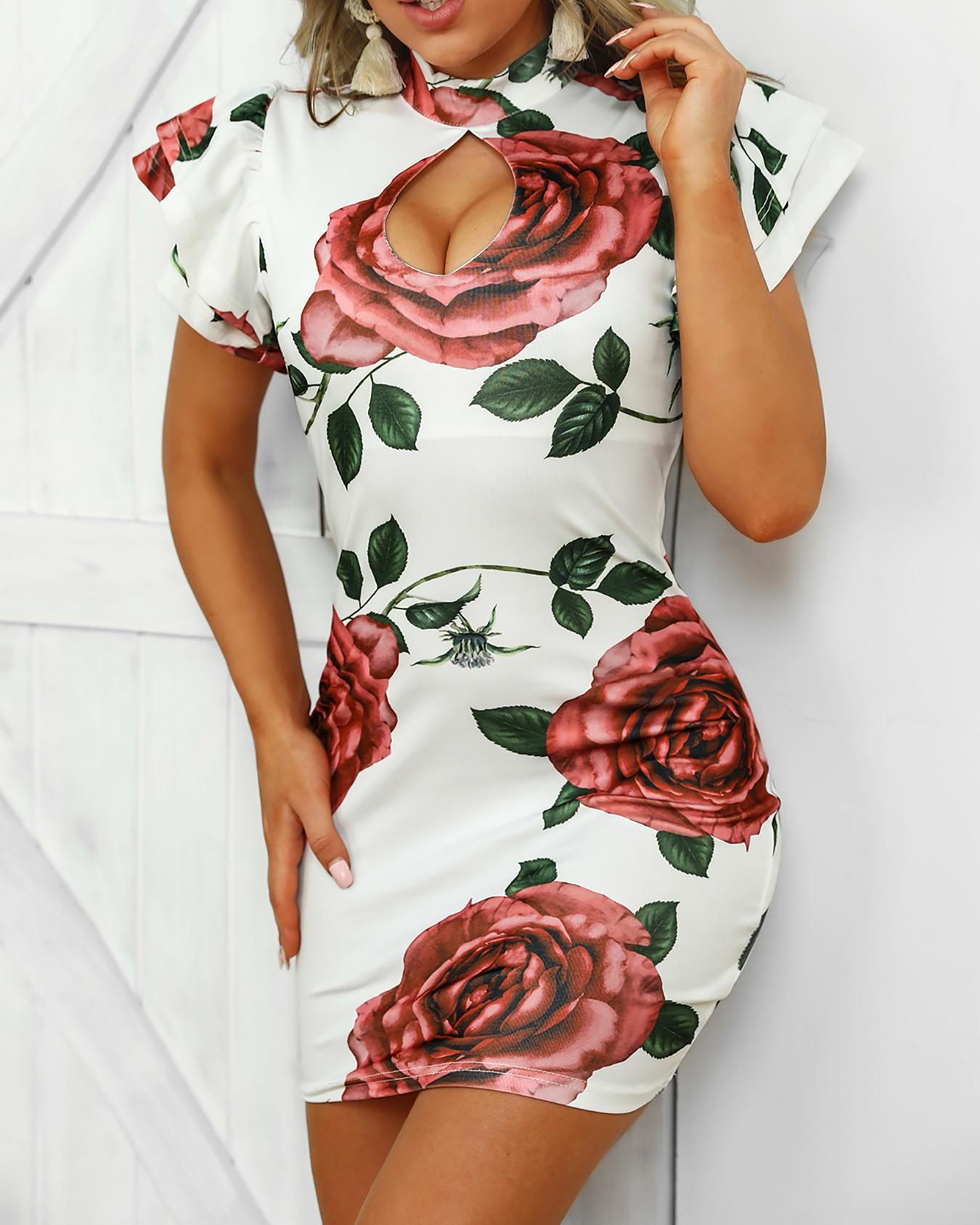 Floral Flutter Sleeve Cutout Front Sheath Dress