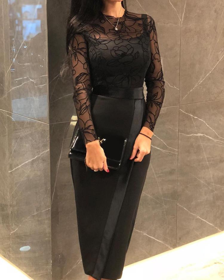 Sheer Mesh Insert Slit Bodycon Dress, Black