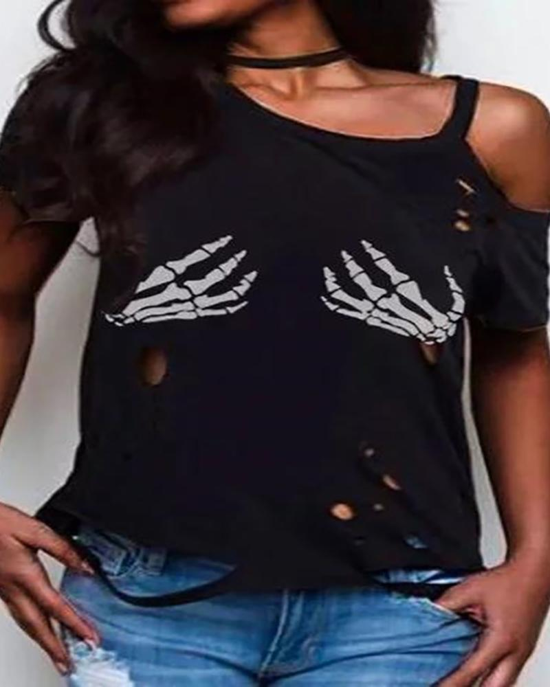 Skeleton Print Cold Shoulder Hollow Out T-shirt фото