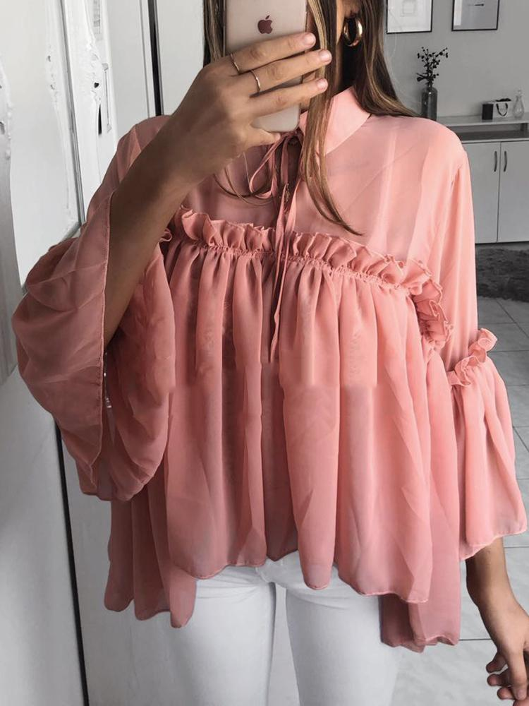 Tie Neck Frills Flared Sleeve Babydoll Blouse