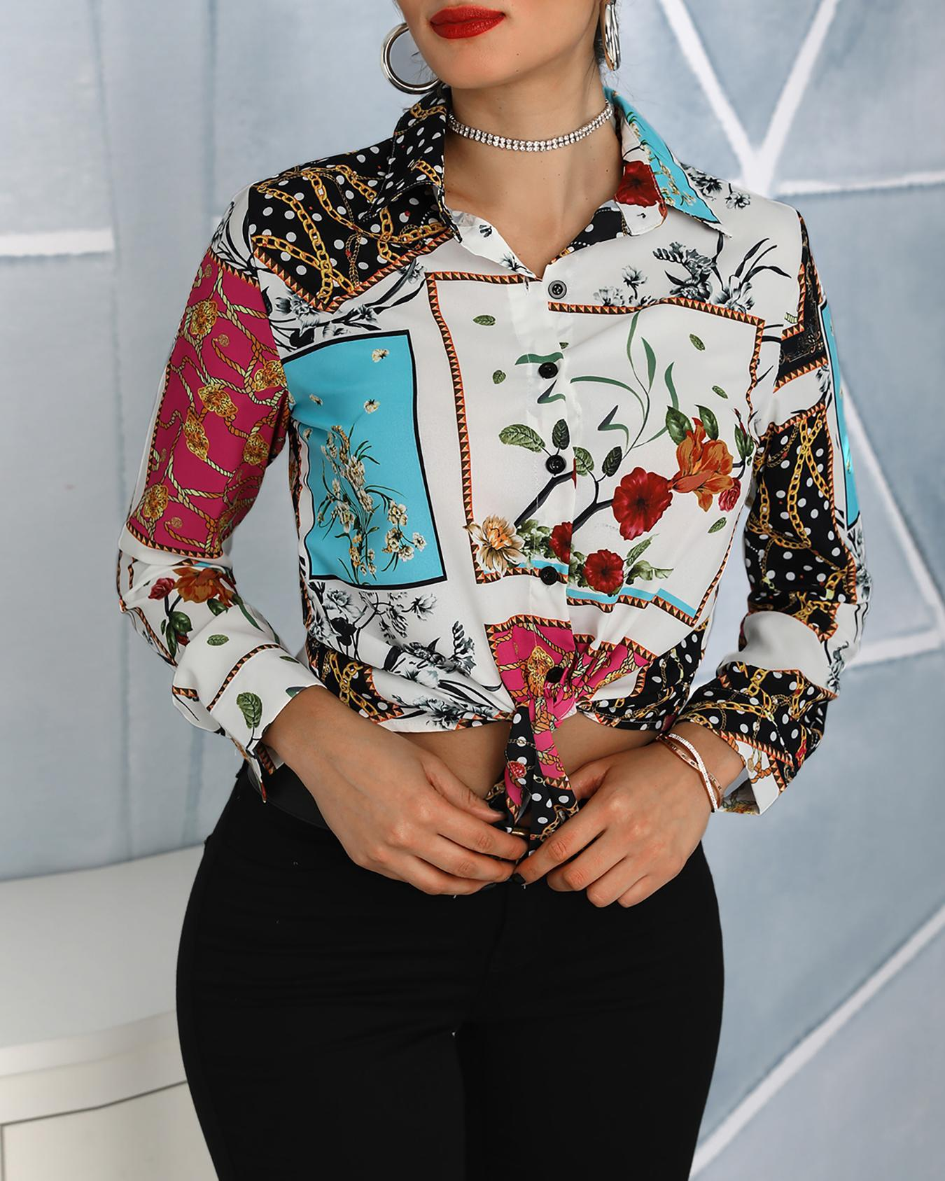 Vintage Print Tied Front Shirt