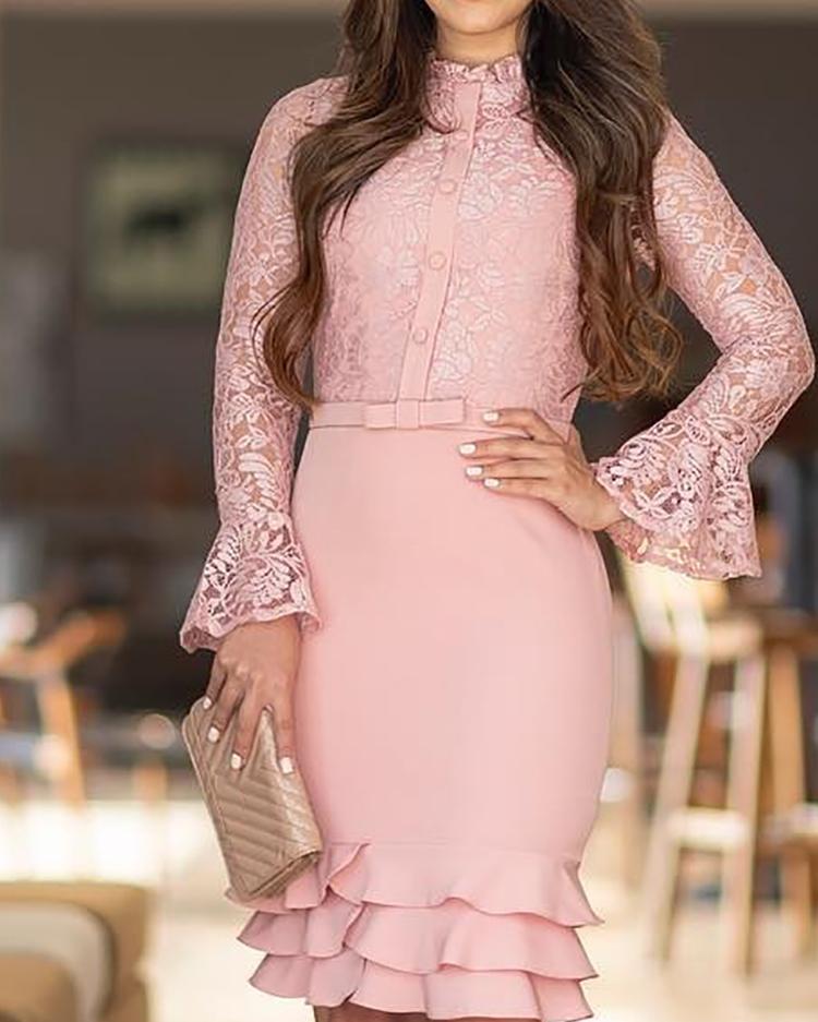 Lace Bodice Layered Ruffle Hem Dress