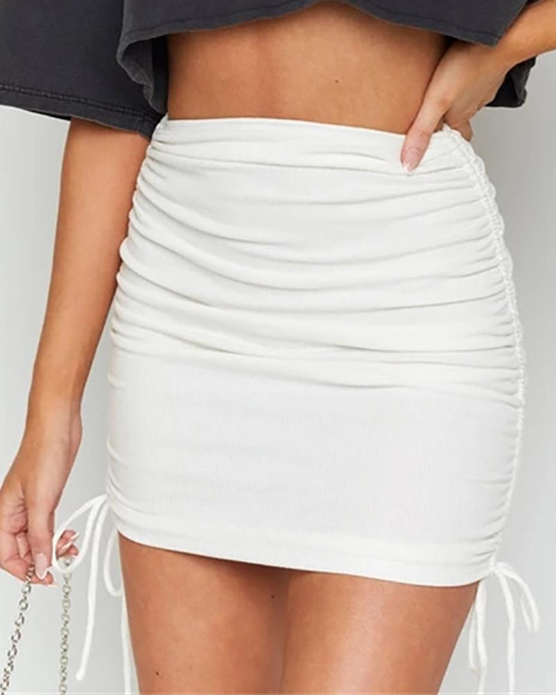 Solid Ruched Drawstring Mini Skirt фото