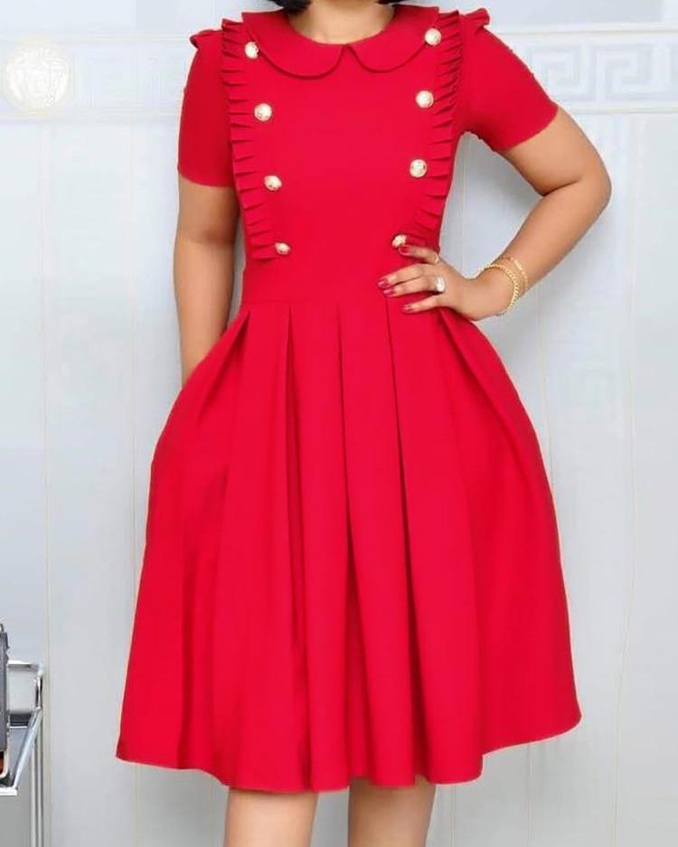Buttoned Ruched Design Pleated Dress фото