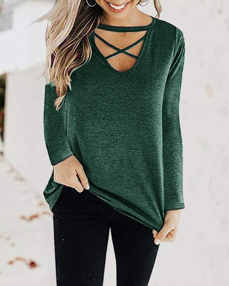 Bandage Long Sleeve Solid Casual Top фото