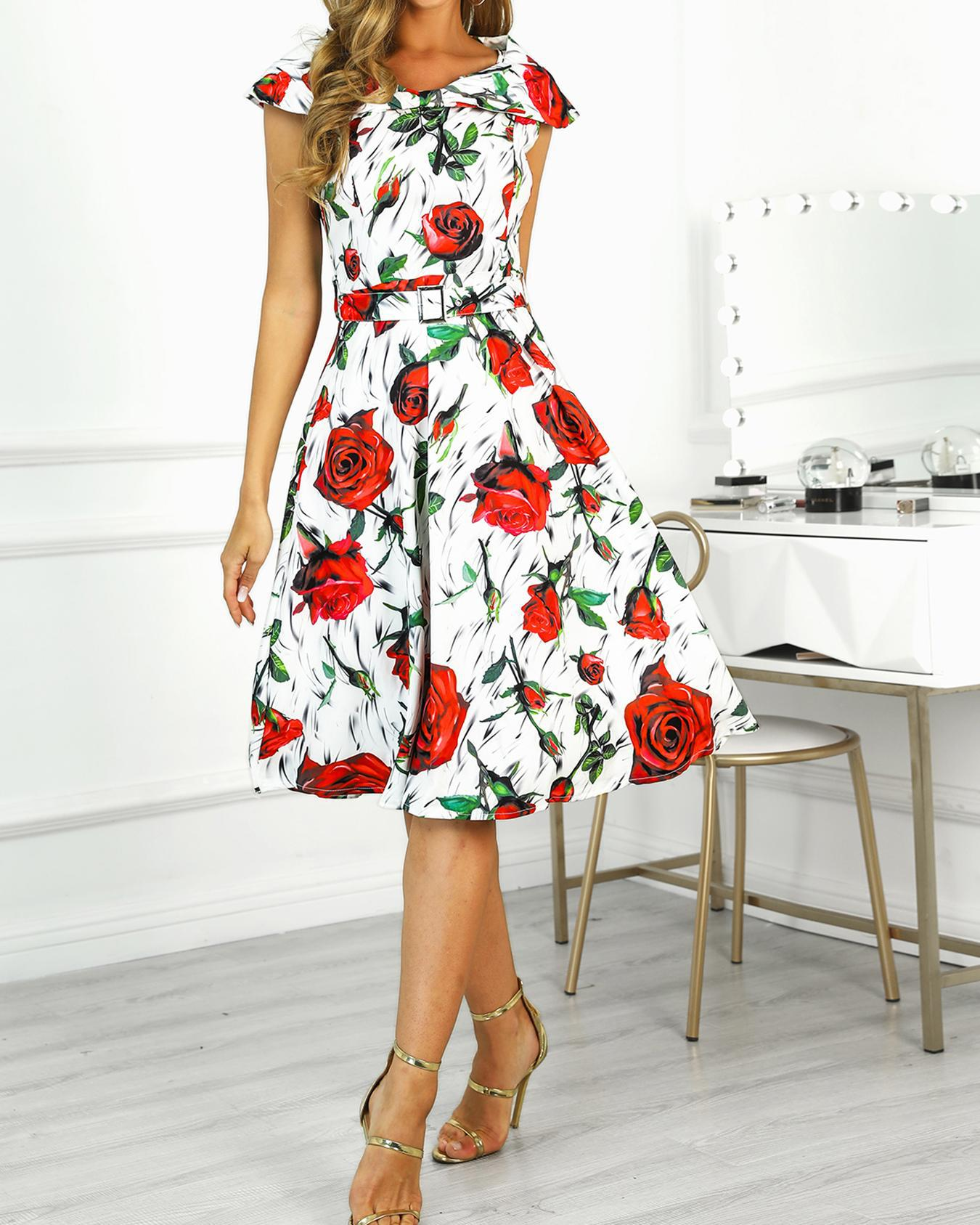 Rose Print Pleated Belted Dress