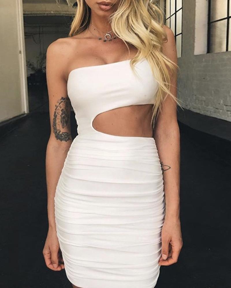 One Shoulder Cutout Ruched Dress фото