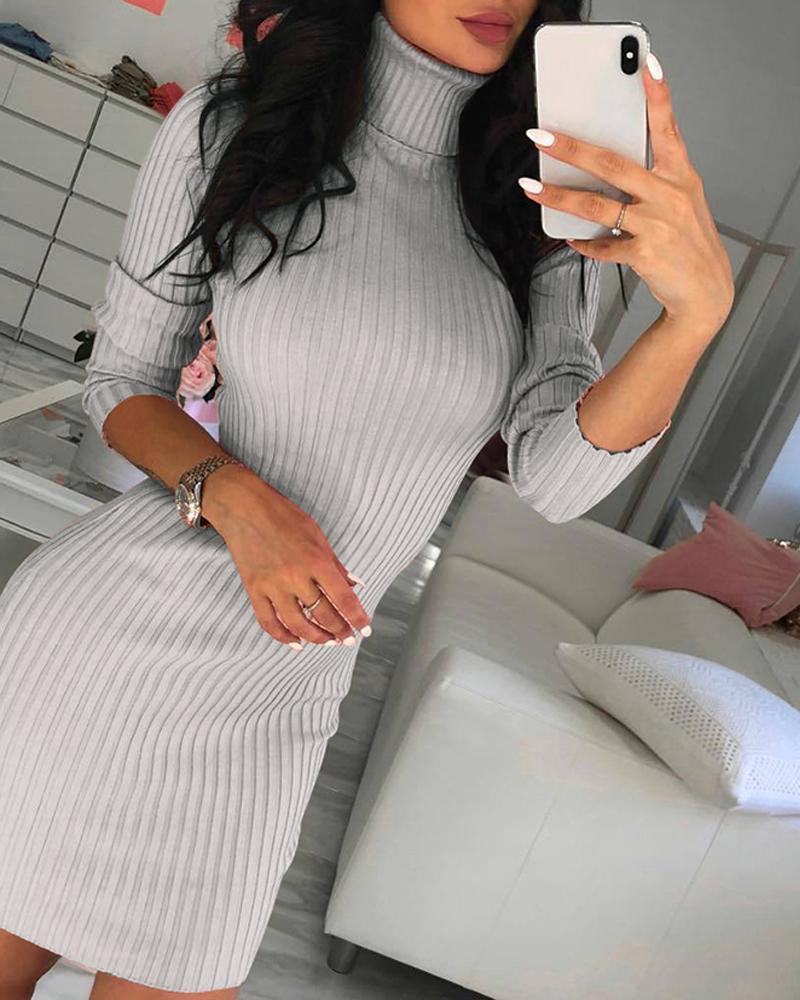 Long Sleeve High Neck Sweater Dress фото