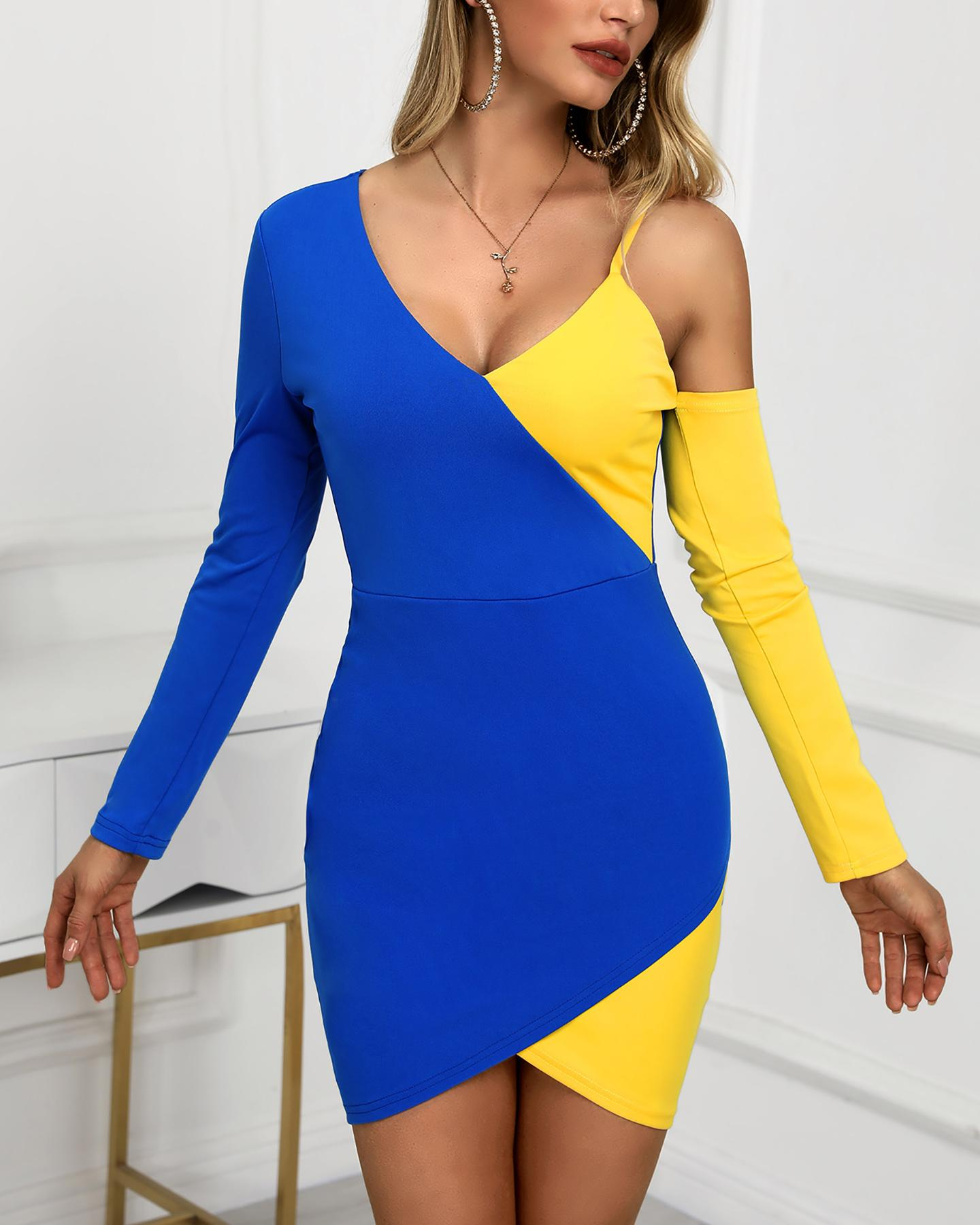 One Shoulder Colorblock Bodycon Dress фото