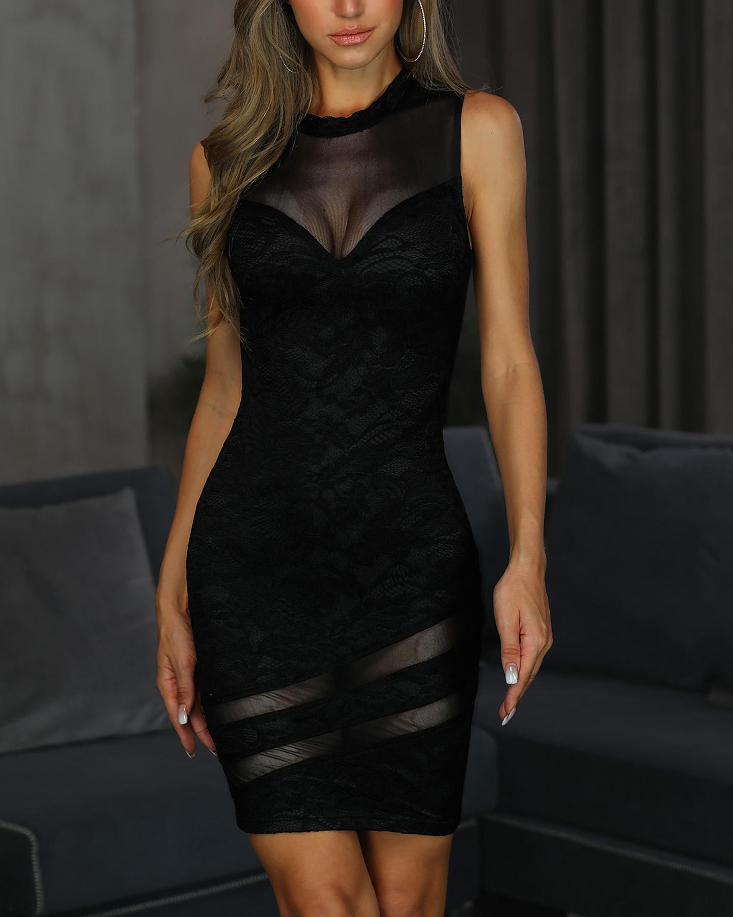 Sleeveless Sheer Mesh Lace Bodycon Dress