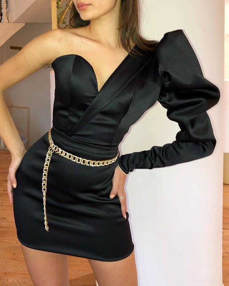 One Shoulder Puffed Sleeve Bodycon Dress фото