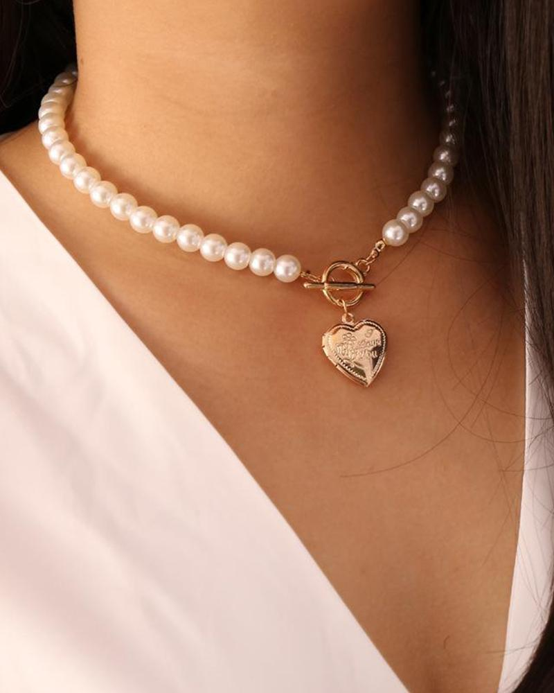 Vintage Opening Love Pearl Necklace фото