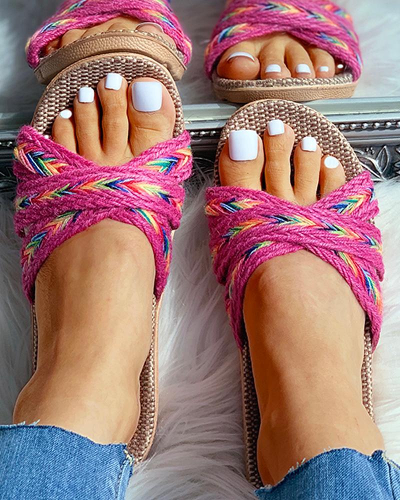 boutiquefeel / Sandalias planas cruzadas de lino tejido