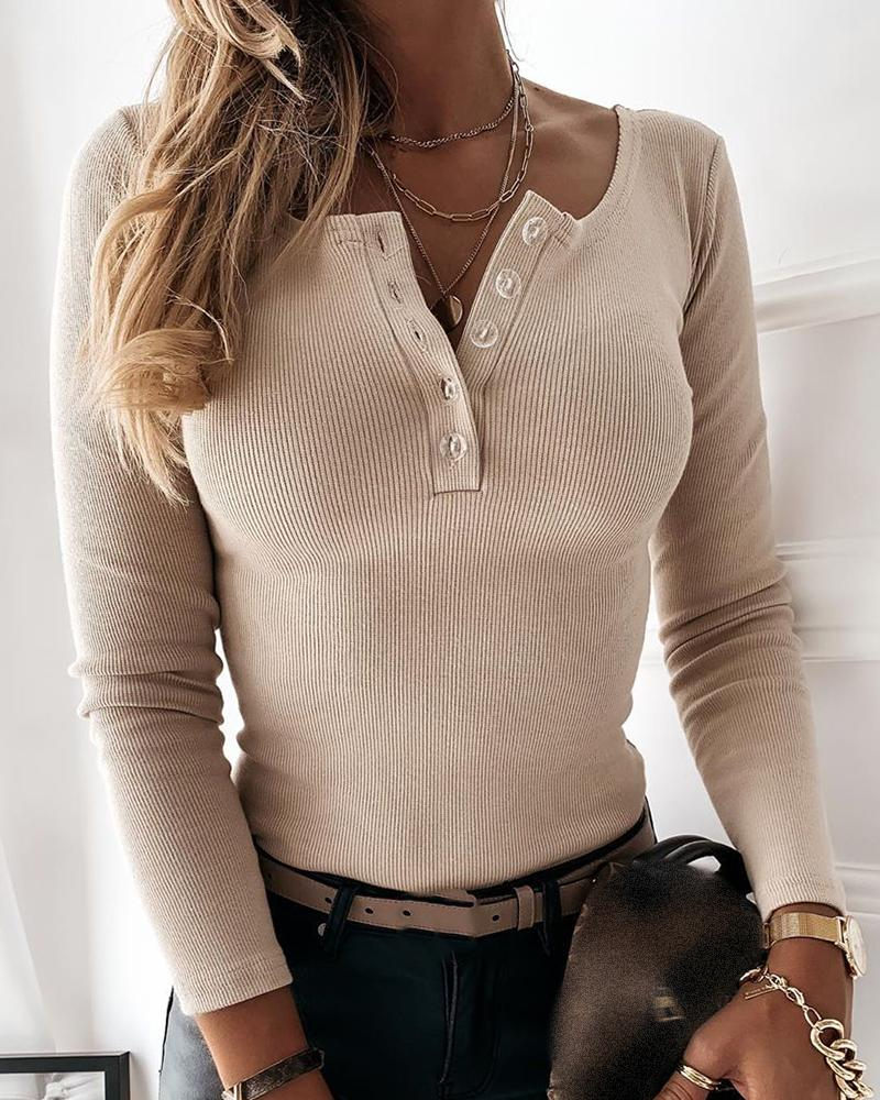 Button Design Long Sleeve Casual Sweater фото