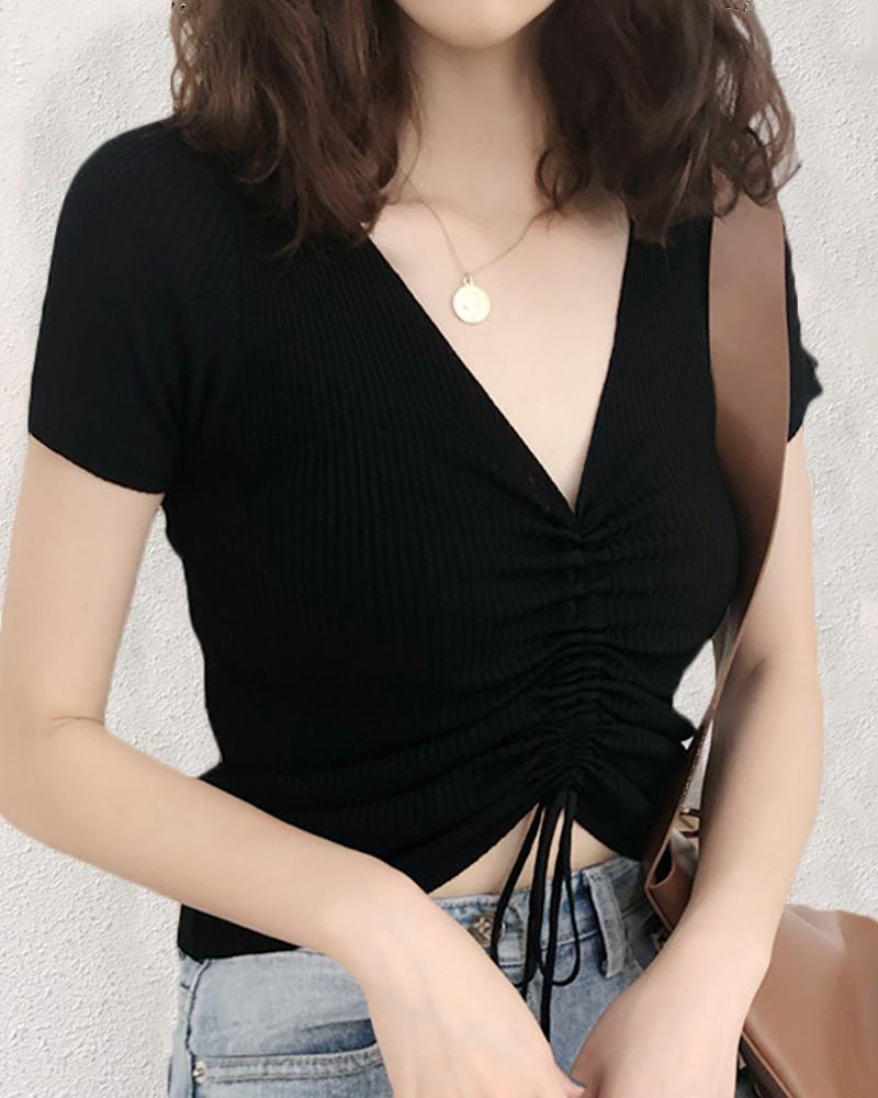 V-neck Short Sleeve Ribbed Drawstring T-shirt
