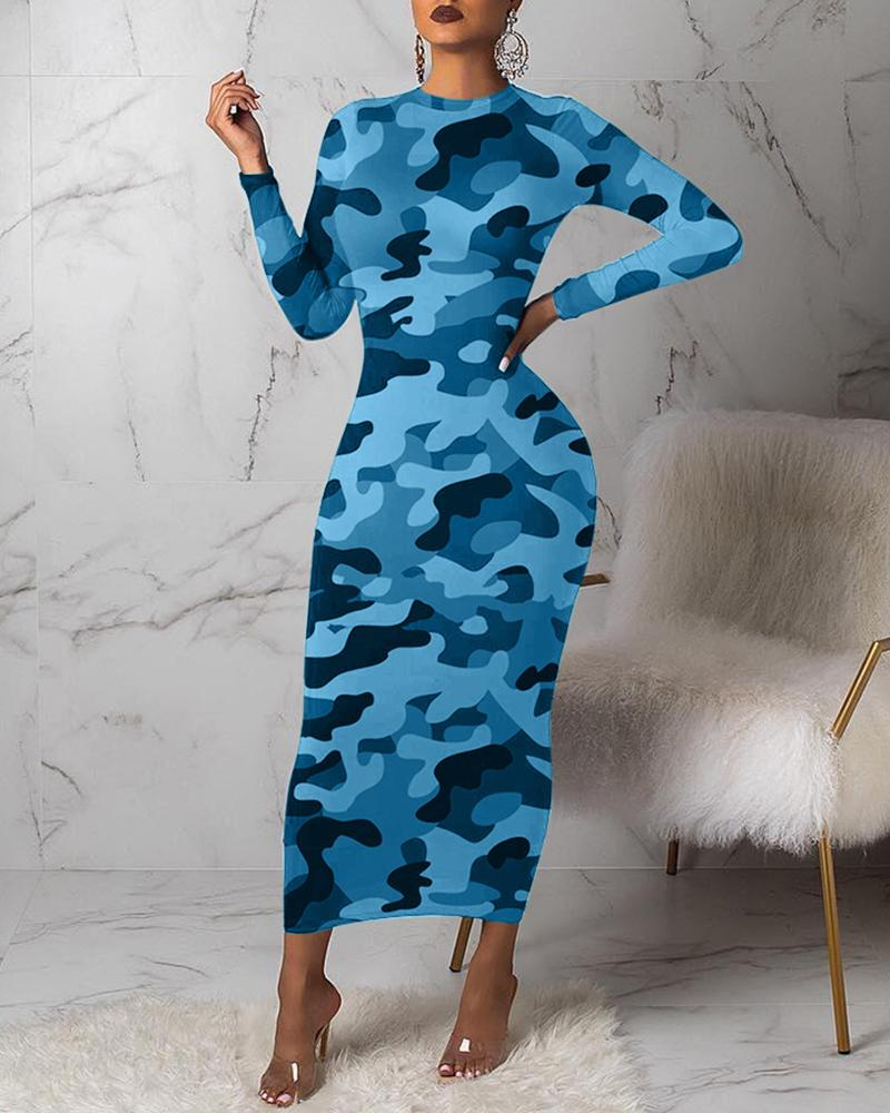 Camouflage Round Neck Long Sleeve Dress фото