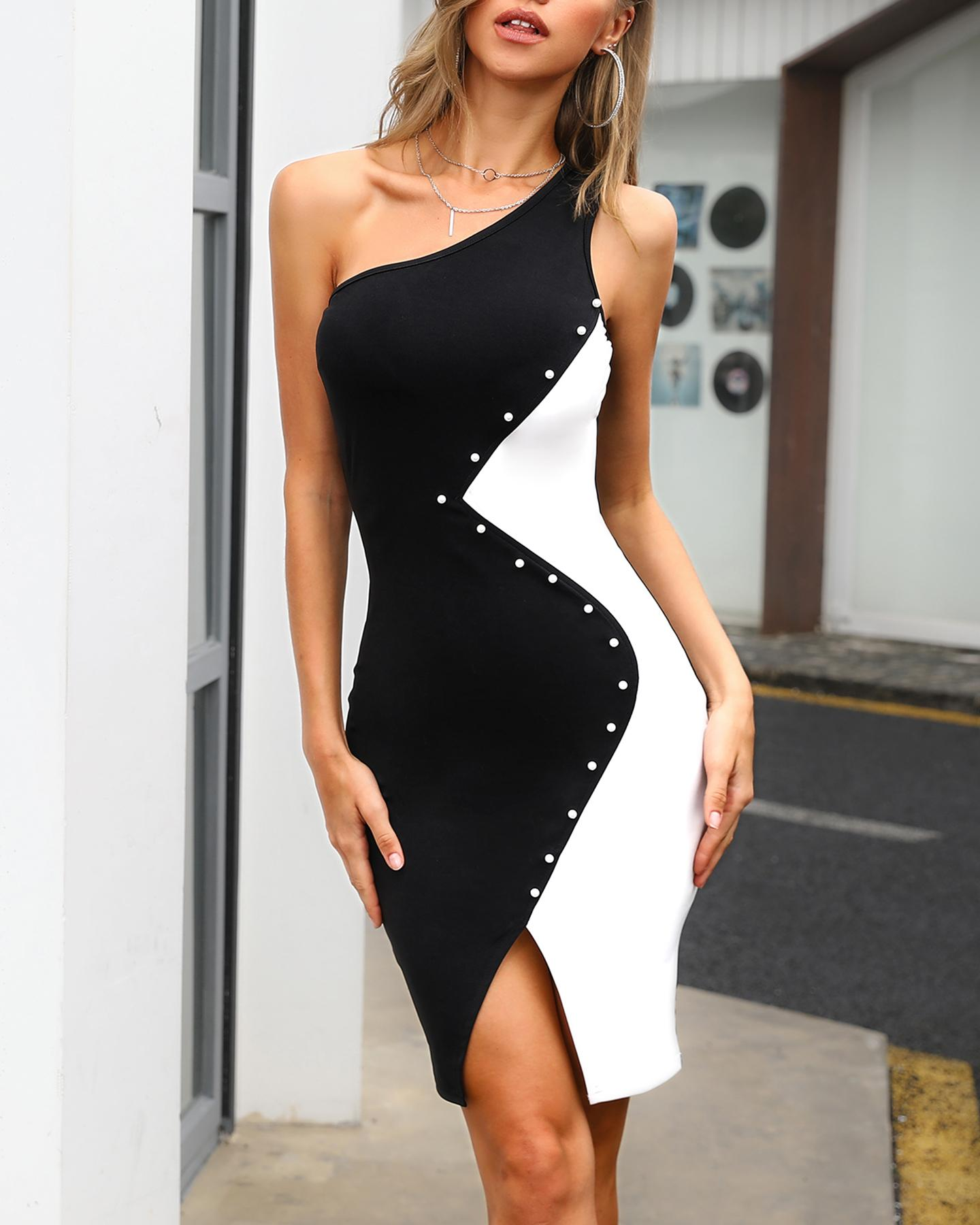 One Shoulder Colorblock Insert Bodycon Dress, Black