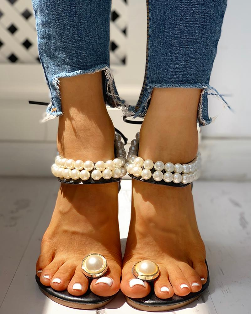 Toe Ring Beaded Casual Sandals фото
