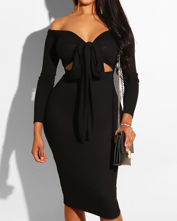 Off Shoulder Knotted Front Cut Out Dress фото