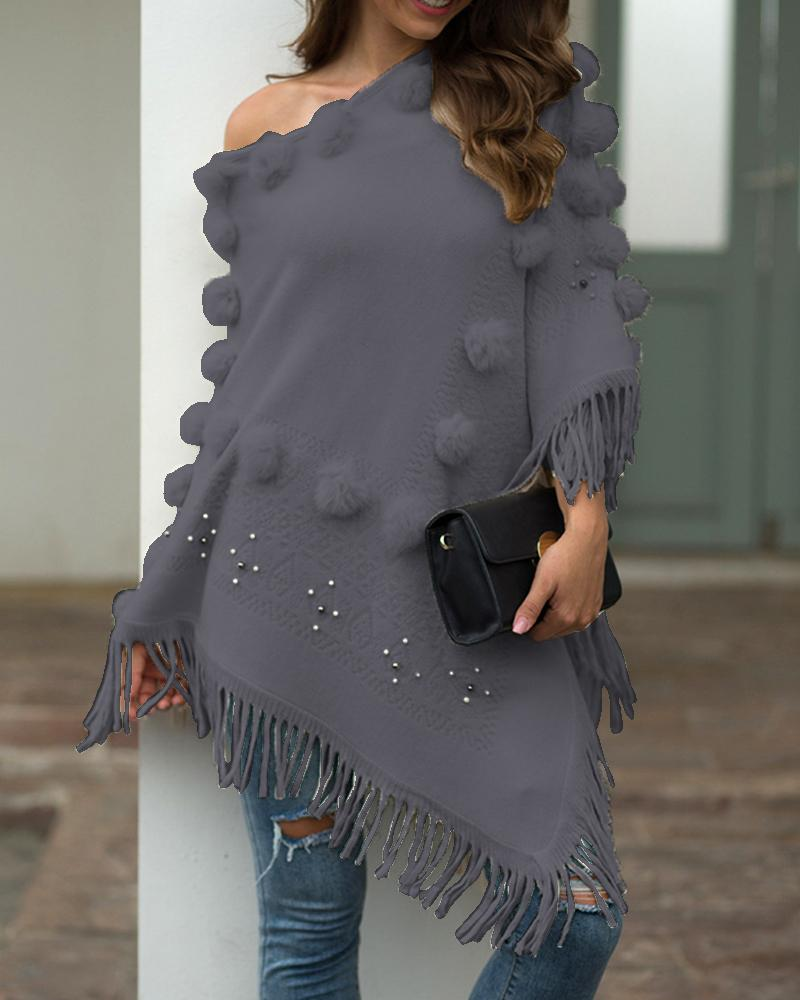 Tassel Design Pom Pom Casual Cloak Sweater фото