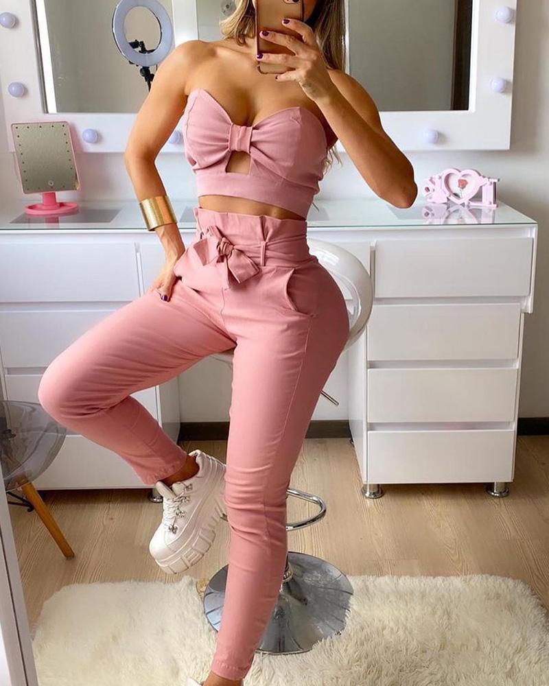 Bandeau Bowknot Cutout Ruched Crop Top & High Waist Pants Set фото