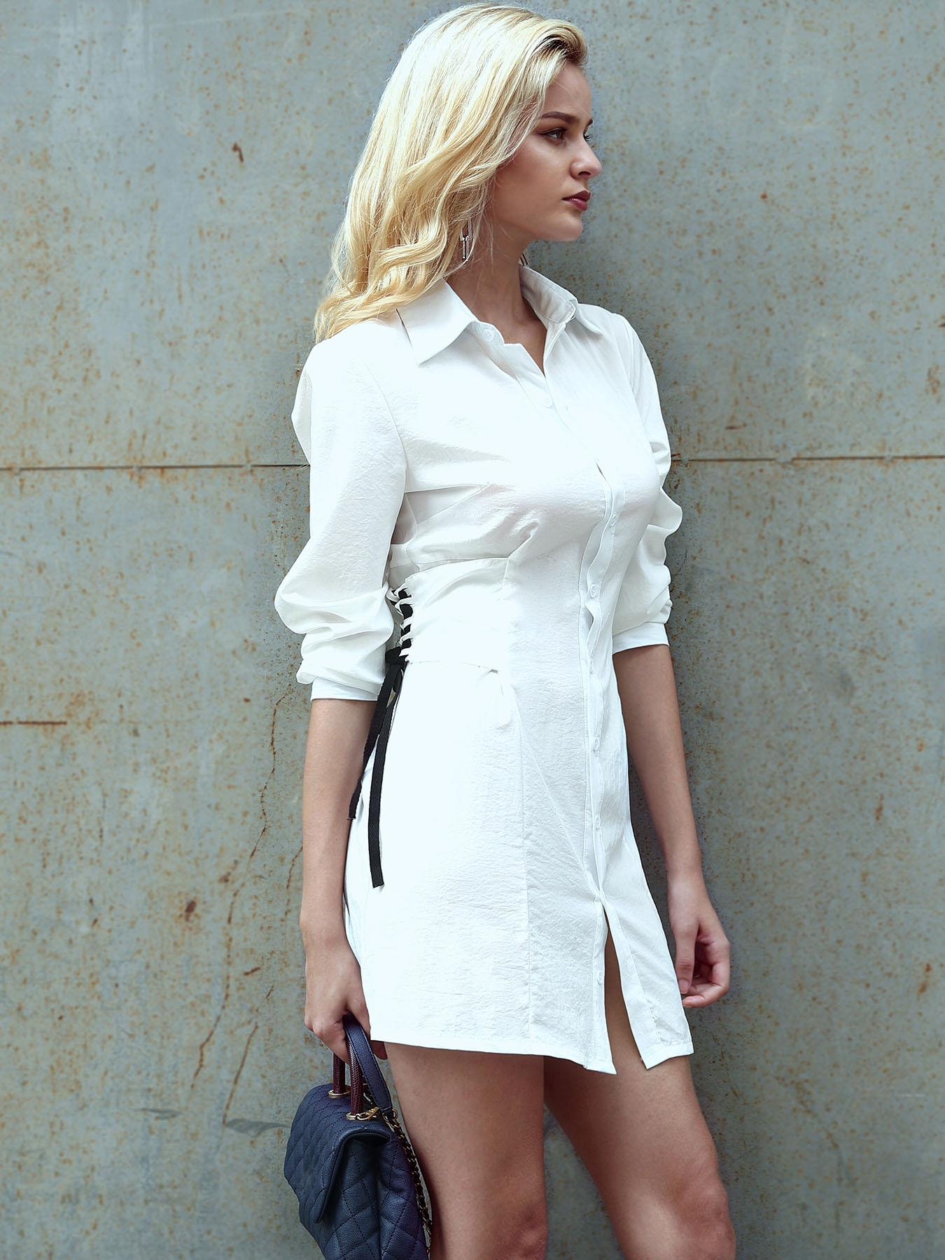 Lace-up Side Casual Shirt Dress