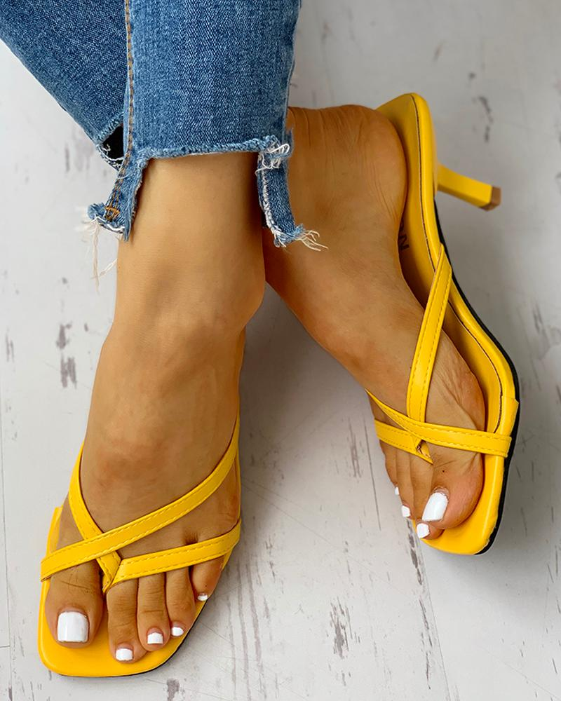 joyshoetique / Toe Post Multi-strap Slingback Thin Heeled Slipper Sandals