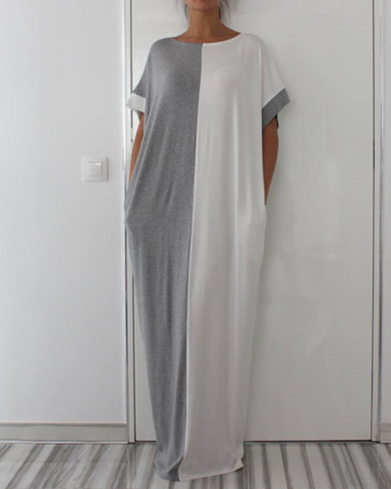 Colorblock Short Sleeve Casual Maxi Dress фото