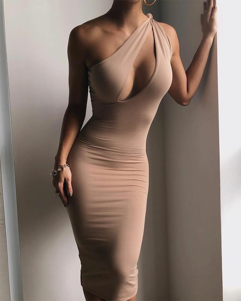 joyshoetique / Solid Color Hollow Sleeveless Skinny Dress