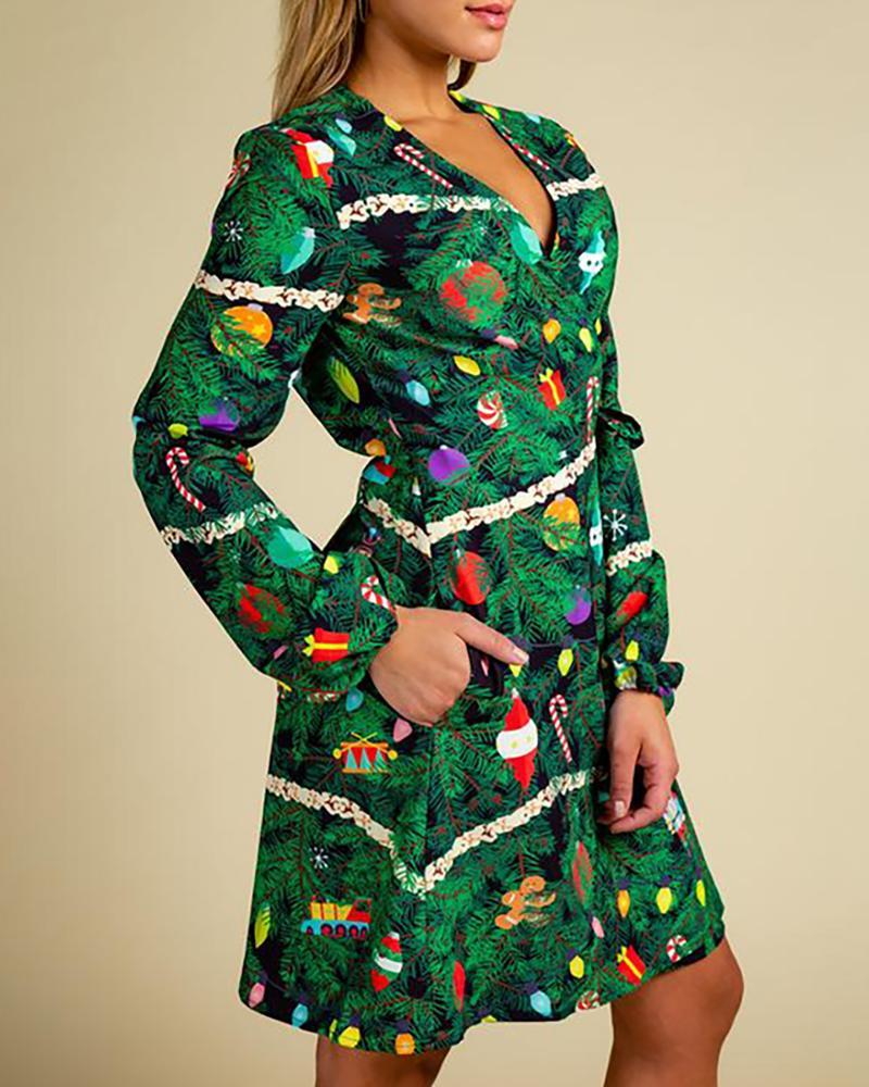 boutiquefeel / Vestido cruzado de manga larga con estampado navideño