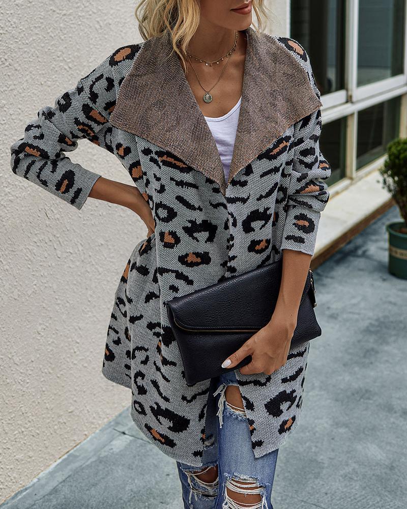 Cheetah Print Long Sleeve Knitted Coat фото