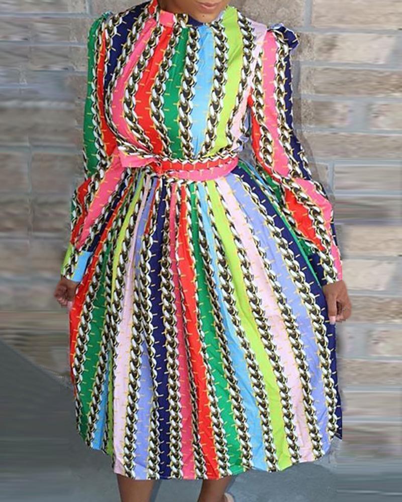 chicme / Vestido de manga de soplo de cadena de rayas verticales multicolor