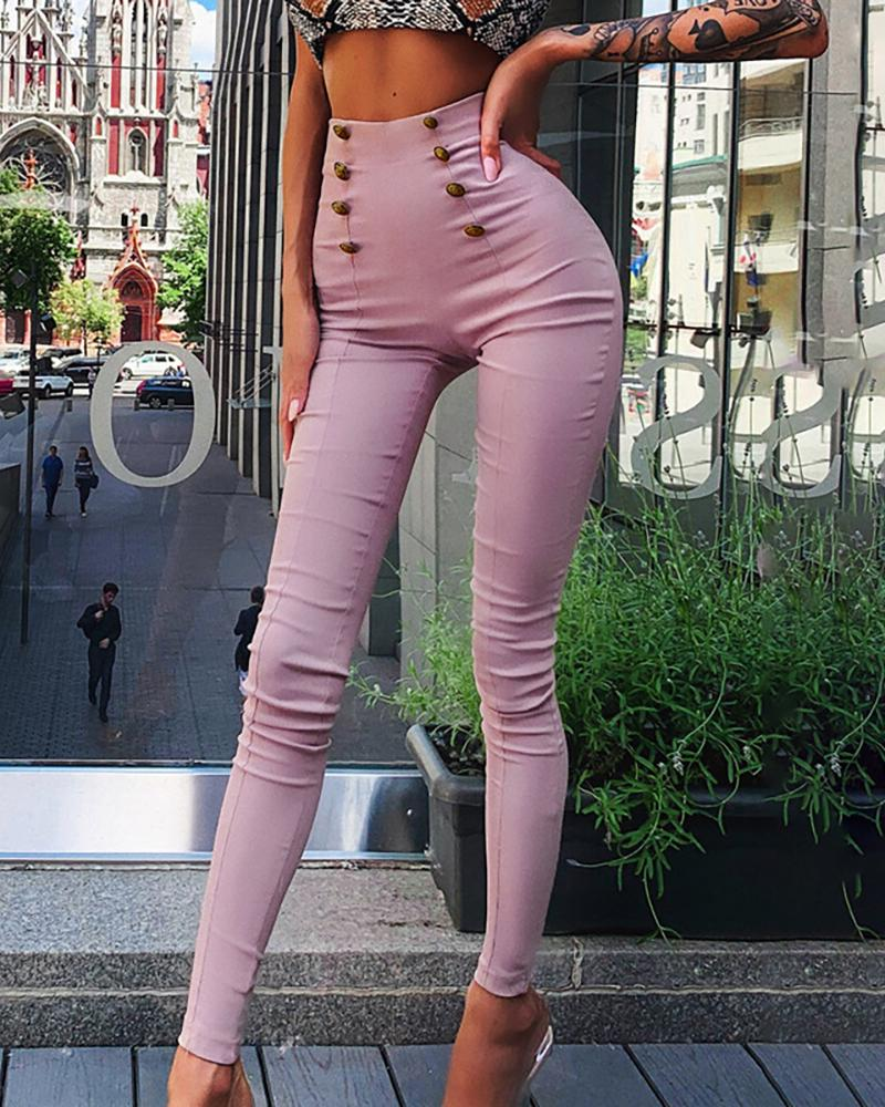 chicme / Solid High Waist Double-breasted Pants