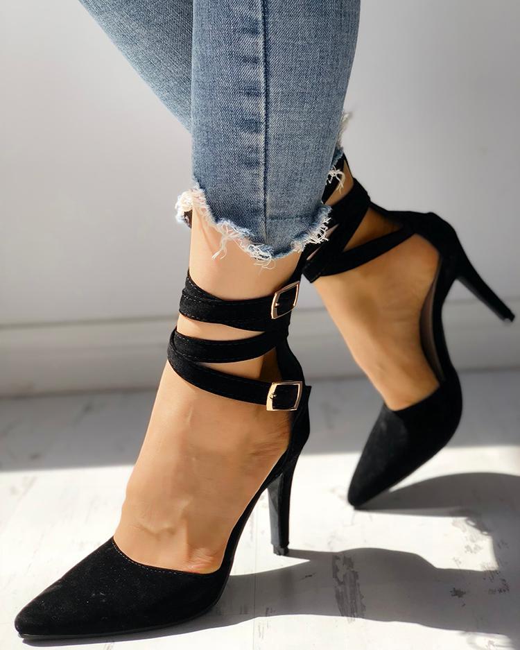 Crisscross Buckle Design Pointed Toe Heel Sandals
