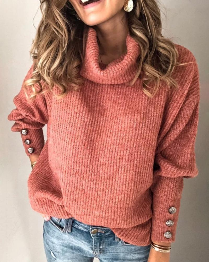 Solid High Neck Popper Cuff Long Sleeve Ribbed Knitting Sweater фото