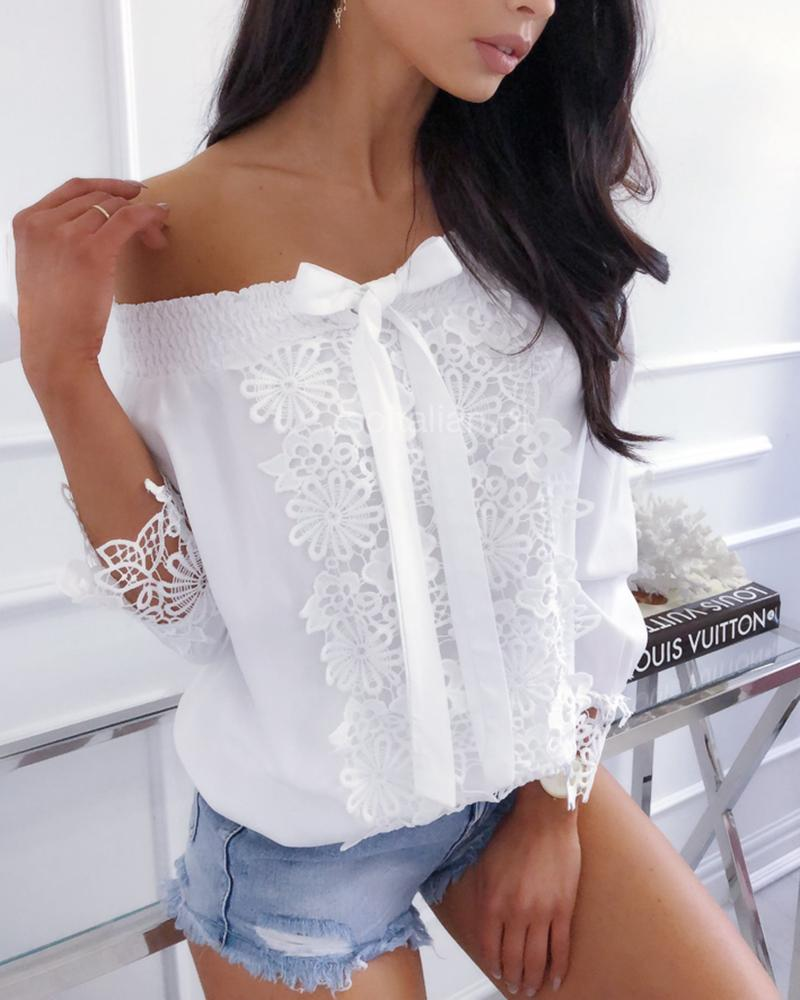 boutiquefeel / Shirring fora do ombro Crochet Lace Detalhe Blusa