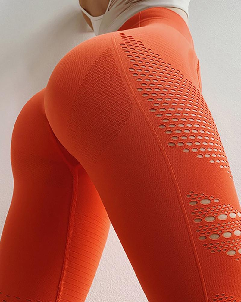 High Waist Hollow Out Yoga Leggings фото