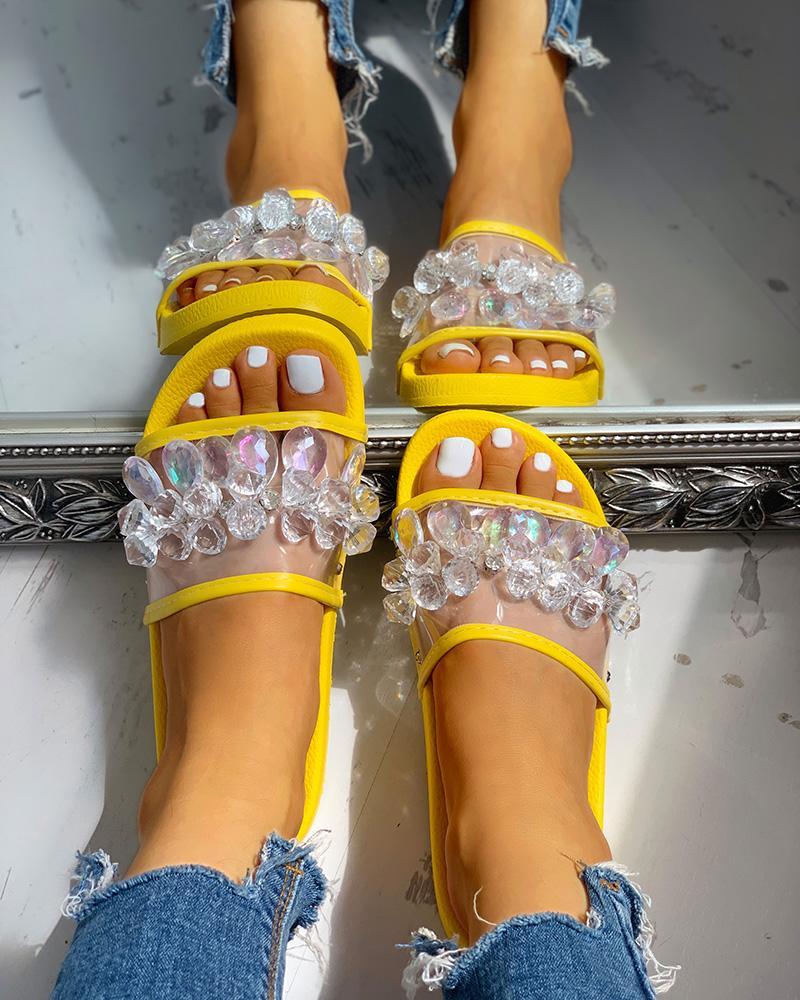 boutiquefeel / Transparent Studded Design Flat Sandals