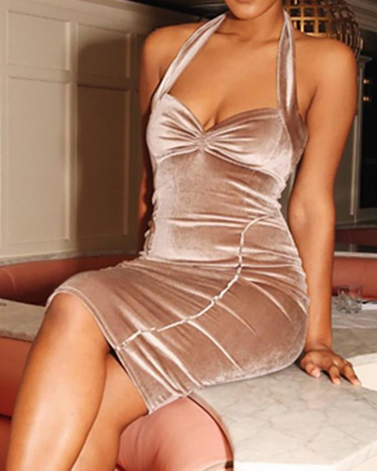 Velvet Halter Ruched Front Bodycon Dress фото