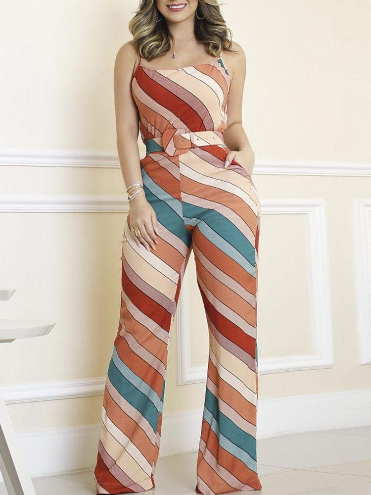 joyshoetique / Colorful Striped Spaghetti Strap Belted Jumpsuits