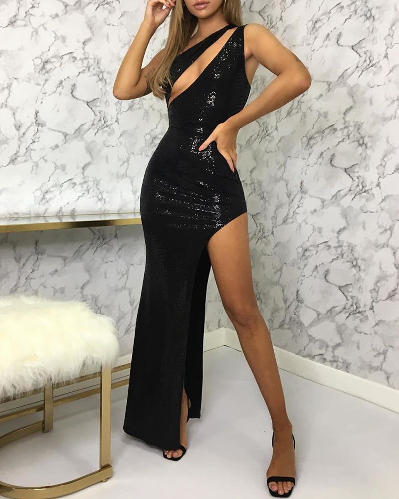 boutiquefeel / High Slit One Shoulder Cut Out Sequins Dress